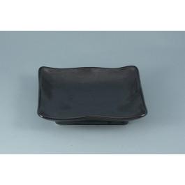 Oriental Range Square Plate Tetsu Kesso, black 18.5cm