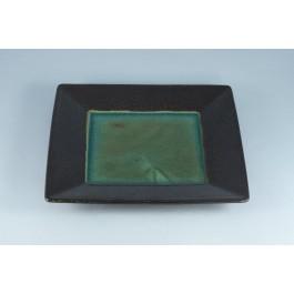 Oriental Range Square Plate Black/Green 21cm