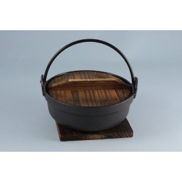 Oriental Range Pot and Trivet Cast iron with wooden lid 17cm