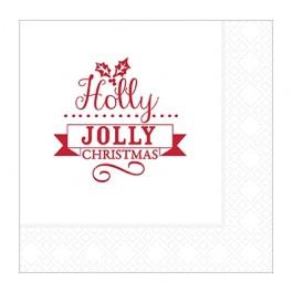 Jolly Holly 2 Ply Napkin 25cm