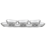 Lagoon Oval Serving Plate Set 30cm Glass Including 3 bowls (8cm)
