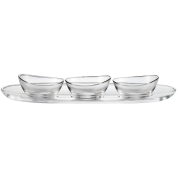 Lagoon Oval Serving Plate Set 50cm Glass Including 3 bowls (13cm)