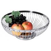 Round Bread/Fruit Basket Stainless Steel Mirror Polished Finish Heavy Gauge 24.5cm