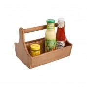 Counter Display/Table Tidy Acacia 2 Compartments and Bar Carry Handle 25 x 17.9 x 18cm (LxWxH)