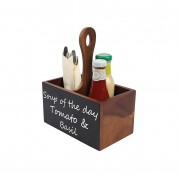 Acacia Table Tidy 2 Compartments Handle & Chalk Board (One Side) 22 x 13 x 27cm (LxWxH)