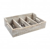 Nordic White Extra Large Cutlery Tray With 4 Compartments 48.5 x 31.4 x 13cm (LxWxH)