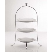 Cake Plate Stand With Round Knob 49 x 24.5cm Silver plated, 3 tier, for Plates up to 21cm