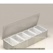 Condiment/Garnish Holder, Length: 55.9cm, Stainless Steel, 6 Compartment(includes lid)