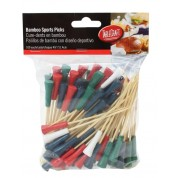 Disposable Bamboo Sport Picks Golf Tee Assorted: White/Blue/Green/Red 11.5cm (Pack of 100)