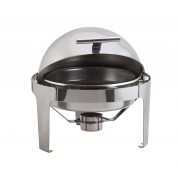 Genware Deluxe Chafing Unit Round Roll Top. Stainless Steel. 6 Litre