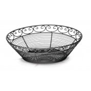 Mediterranean Collection Black Round Basket 25cm