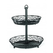 Mediterranean Collection Black 2 Tier Basket with Legs 30cm