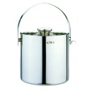 Ice Bucket Double Walled with Tongs 2 Litres 18/10 Stainless Steel With Hinged Carry Handle and Airtight Lid with Silicone Rubber
