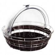 APS Frames Polyratten Round Basket with Frame. 100x 400mm. Colour: Dark Brown