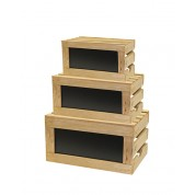 Rustic Riser Wood Crate Set With Challkboard (Set of 3)Small: 35 x 25.5 x 18cm. Medium: 40.5 x 30 x 23.5cm Large: 49 x 34.5 x 26.5cm
