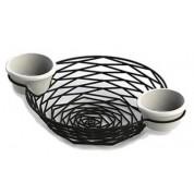 Artisan Serving Baskets Round Basket With Intergrated Ramekin Holders 28 x 20 x 5cm