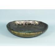 Oriental Range Iga Kinsai Round Stone Plate 22cm- Dark Brown/Green/gold