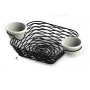 Artisan Serving Baskets Square Basket With Intergrated Ramekin Holders 28 x 18 x 5cm