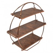 Rustic Copper Tea Stand Includes Wood Melamine Platters 36.2 x 38.5 x 13.5cm