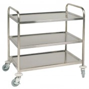 3 Tier Clearing Trolley Stainless Steel. Includes 4 Castors (2 With Brakes). Flat Packed. Easy Self Assembly. 83 x 86 x 53.5cm (HxWxD)