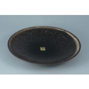 Oriental Range Round Plate Mottled Black With Stone Border 25.5cm