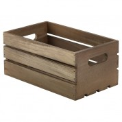 Dark Rustic Finish Wooden Crate With Handle 27 x 16 x 12cm